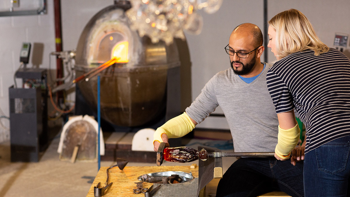 Glass blowing craft experience Hertford in the South East England