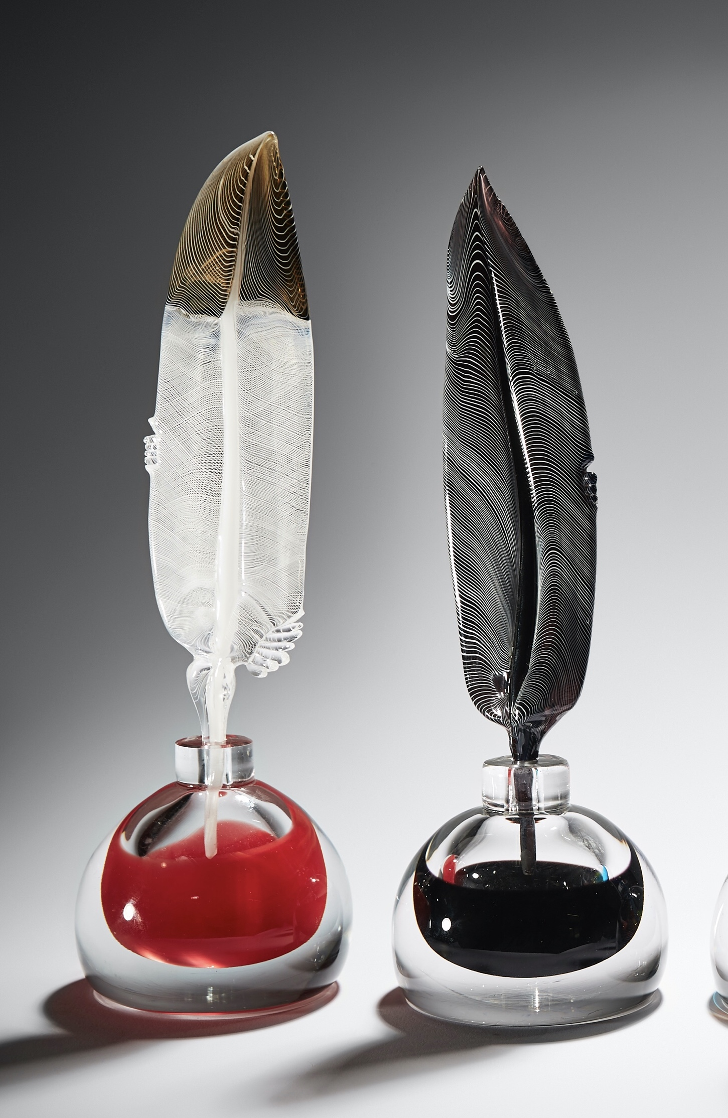 Red with white Quill n ink, by glass artist a Layne Rowe